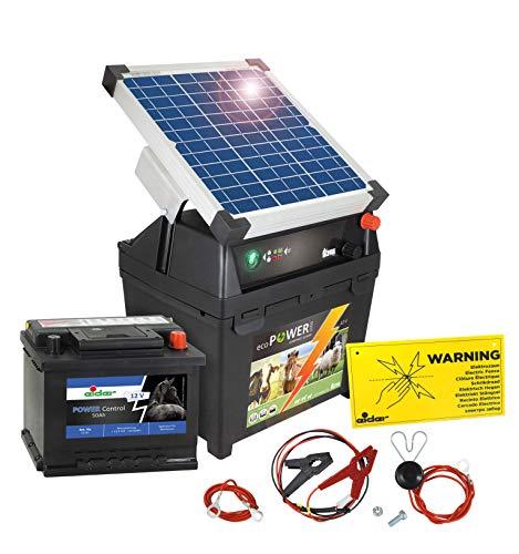 Eider Weidezaungerät ecoPOWER1000-12 Volt, mit 10 Watt Solar & Akku - mit Tiefenentladeschutz - handliches Elektrozaungerät zum Hüten von Nutztieren und Pferden