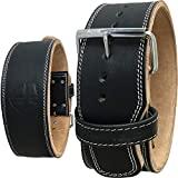 Steel Sweat Weight Lifting Belt - 4 Inches Wide by 10mm - Single Prong Powerlifting Belt That's Heavy Duty - Genuine Cowhide Leather - Texus