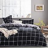 Damier - Juego de ropa de cama a cuadros (220 x 240 cm, microfibra, diseño de cuadros y cuadros, incluye 2 fundas de almohada de 80 x 80 cm), color negro y gris