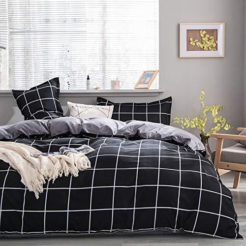 Damier - Juego de ropa de cama (155 x 220 cm, funda de edredón y funda de almohada de 80 x 80 cm), color negro y gris