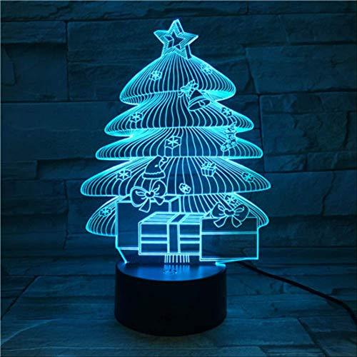 DFDLNL Pequeñas lámparas para Night Club Bar Árboles de Navidad Led Night Light Gift para niños Decoración de Dormitorio para niños Lámpara de ilusión 3D