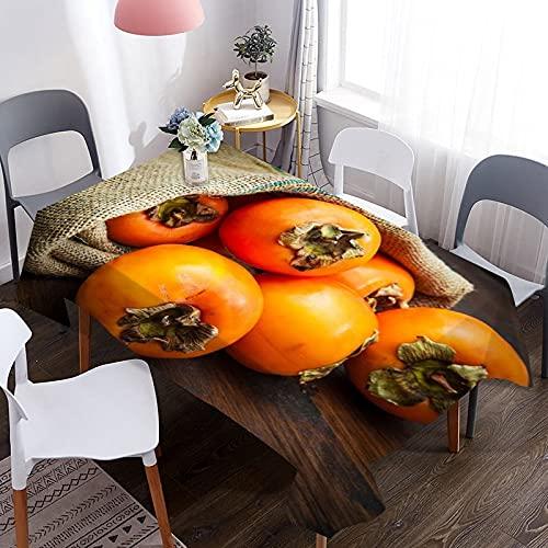 Mantel Impermeable con patrón de Caqui 3D, Adecuado para picnics, Fiestas de cumpleaños, cenas, cocinas caseras M-16 140x180cm