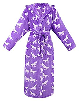Womens Robe Hooded Printed Flannel Fleece Bathrobe for Women with Pockets,Unicorns