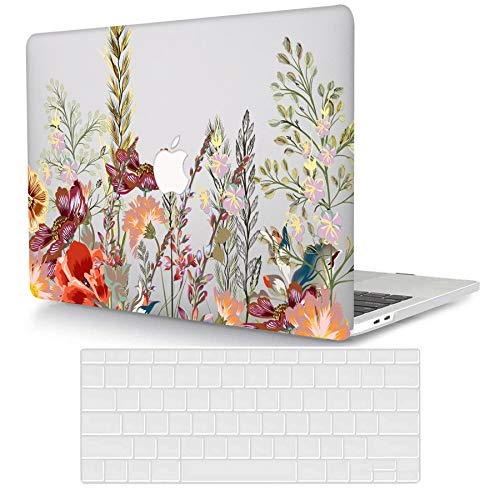 ACJYX Compatible with MacBook Air 13 inch Case 2020 2019 2018 Release A2337 M1 A2179 A1932 Retina Display with Touch ID, Protective Plastic Hard Shell Case & Keyboard Skin, Flowers Transparent
