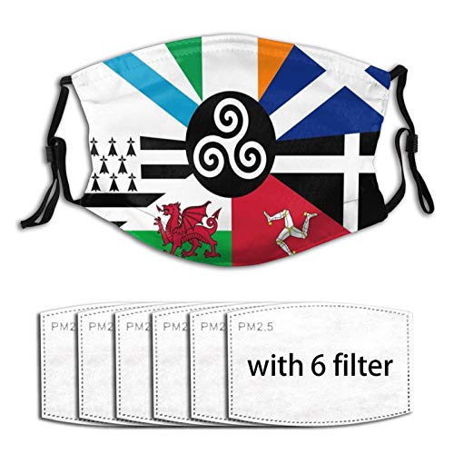 Flag of The Pan Celtic Nations Men Women Adjustable Earloop Face Mouth MAK Anti Pollution Washable Reusable with 6 Filters