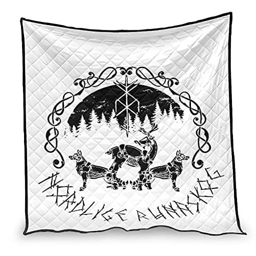 Dessionop Manta de lujo con impresión de runas vikingas, lobo, alce, bosque, escandinavas, 180 x 200 cm, color blanco