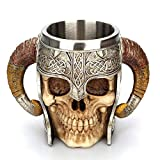 Taisuko médiéval Mug, en Acier Inoxydable RAM Cornes Viking Pirate Gothique crâne Mug Tankard Coupe, château médiéval Lord Knight Skeleton Tankard Stein pour bière vin café 500 ML (17 oz)