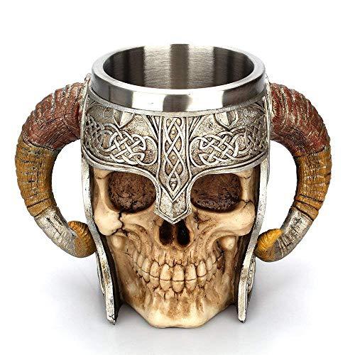 Taisuko mittelalterlicher Becher, Edelstahl-Widder Gehörnter Wikinger-Pirat gotischer Tankard-Becher, mittelalterlicher Skelett-Krug Stein für Bier Wein Kaffee Rum Trinkwasser - 500 ml (17 Unzen)
