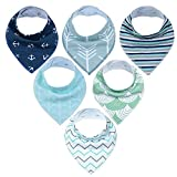6 baberos triangulares de algodón con diseño de ronquidos de Mettime Girl de varios colores, doble absorción de agua D