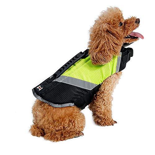 Doglemi Impermeabile giubbotto di salvataggio per cani Cucciolo regolabile Salvatore salvavita regolabile Abbigliamento per cani traspirante per cani di taglia media Inverno invernale Nuoto verde S