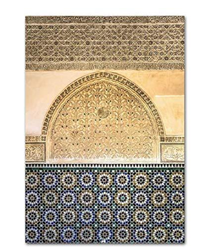 H/T Arquitectura Islámica Marruecos Puerta Cartel Retro Cita Impresión De Lienzo Arte Moderno Religioso Musulmán Pintura Decoración De Pared Imagensin Marco 50X60Cm R10386