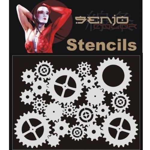 Bodyart Stencil A5 - Zahnräder Airbrush Schablone