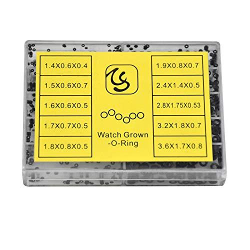 500 Stück Mini Rubber Washer O-Ring Repair Tools Parts, 10 Größen Wasserdicht Gummiringe Uhr Krone Dichtungen Uhrenzubehör für Damen Herren, 1.4-3.6mm