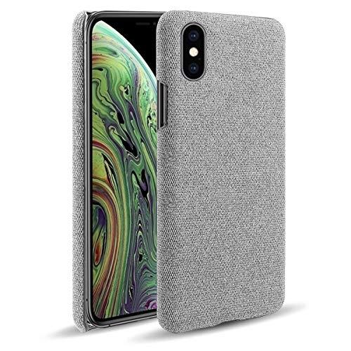 Oihxse Business Housse Case Compatible pour iPhone XR Coque en Tissu Toile Full Protection Étui Ultra Mince Léger Anti-Slip Antichoc Antifouling Hybride Cover,Gris
