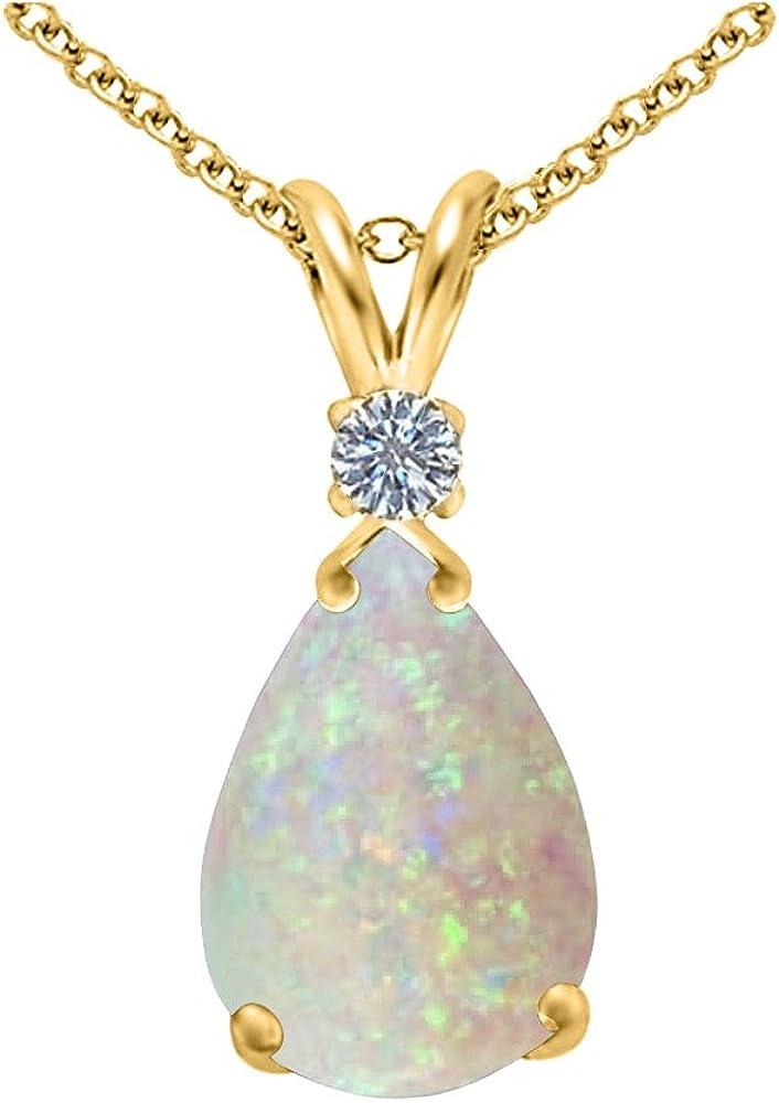 Genuine Import Opal and Diamond Pear Drop 14K in Financial sales sale Yello 10x7mm Pendant