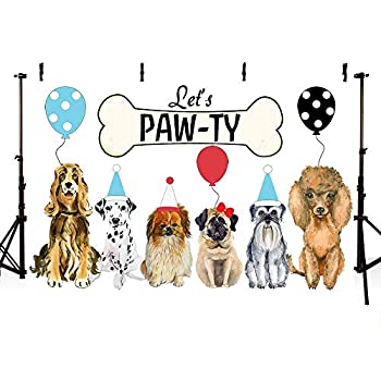 MEHOFOTO Dog Birthday Party Photo Booth Backdrop Props Let s Paw-ty Doggy Pet Bone Balloons Puppy Birthday Photography Background Banner for Cake Table Supplies 7x5ft