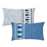 Set de 2 Cojines de Peces Azules de algodón de 50x30 cm - LOLAhome