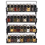 SWOMMOLY Wall Mount Spice Rack, 4 Pack Stackable Foldable Spice Racks Organizer, Black,Large