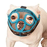 ILEPARK Bozal para Perros de Hocico Corto, Bozal de Bulldog francés, Anti-Mordiscos y Ladridos, Máscara para Perros Transpirable Ajustable(M,Azul)