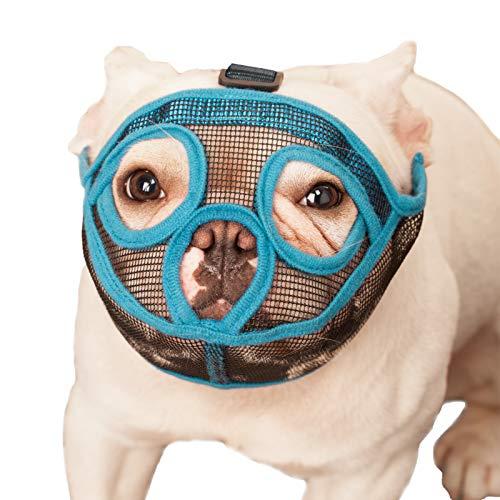 ILEPARK Bozal para Perros de Hocico Corto, Bozal de Bulldog francés, Anti-Mordiscos y Ladridos, Máscara para Perros Transpirable Ajustable(S,Azul)
