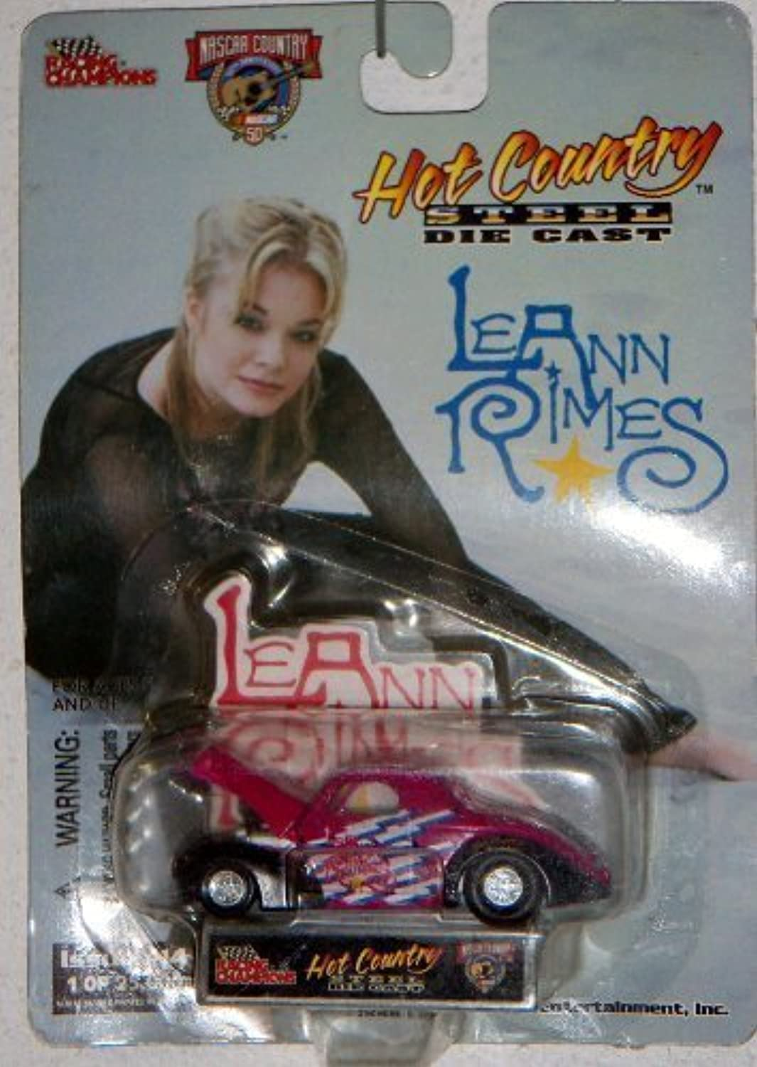 1998 Hot Country Steel Die Cast Car featuring LeAnn Rimes Pink '41 Willys  14 1 of 25,000 NASCAR 50th Anniversary Racing Champions Signatures Superstars by Hot Country Steel Die Cast