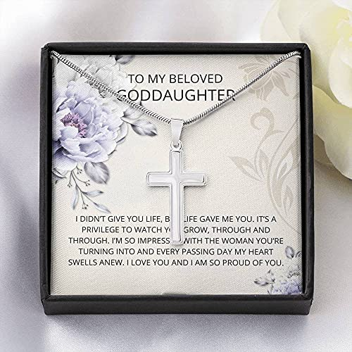 Personalized Necklace Gift, Goddaughter Gifts from Godmother- Goddaughter Baptism, Goddaughter Cross Necklace, First Communion, Girl Birthday, Christening, With Message Card & Box V17