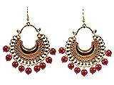 Touchstone Orecchini pendenti di design a forma di bollywood indiano chand baali moon perline rosse pendenti per donna Rosso