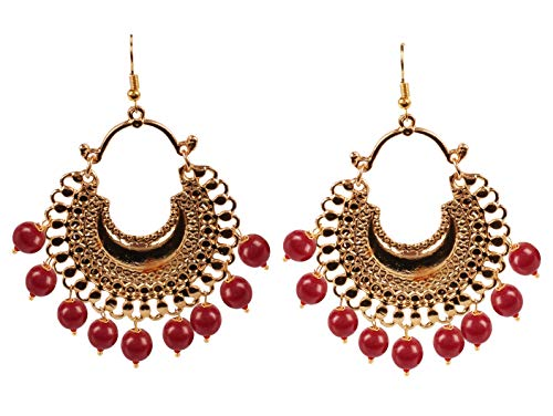 Touchstone Indian bollywood wish chand baali moon red beads hangings designer chandelier pendientes para mujer Rojo