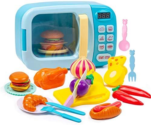 Yellcetoy, giocattolo a microonde per bambini, set da cucina, per giocare a forno elettronico con luce e suono, per bambini, giocattoli educativi, regali per ragazze e ragazzi età 3 4 5 6