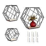 SUMNACON - Juego de 3 estantes hexagonales flotantes para pared (3 unidades), color negro