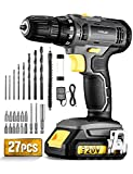 TOPELEK 20V Combi Drill, Cordless Drill Driver with 18+1 Torque Setting, 3/8' Metal Chuck, 2 Speeds, Electric Drill Kit with 27pcs Accessories, 1.5Ah Lithium Battery Pack, LED Work Light