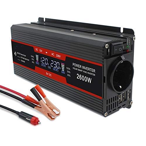 BAYUE 2600W Power Inverter DC 12V a 220V AC Onda sinusoidal modificada Converter con 2 USB Interfaces Adaptador de mechero de Coche Pinzas cocodrilo