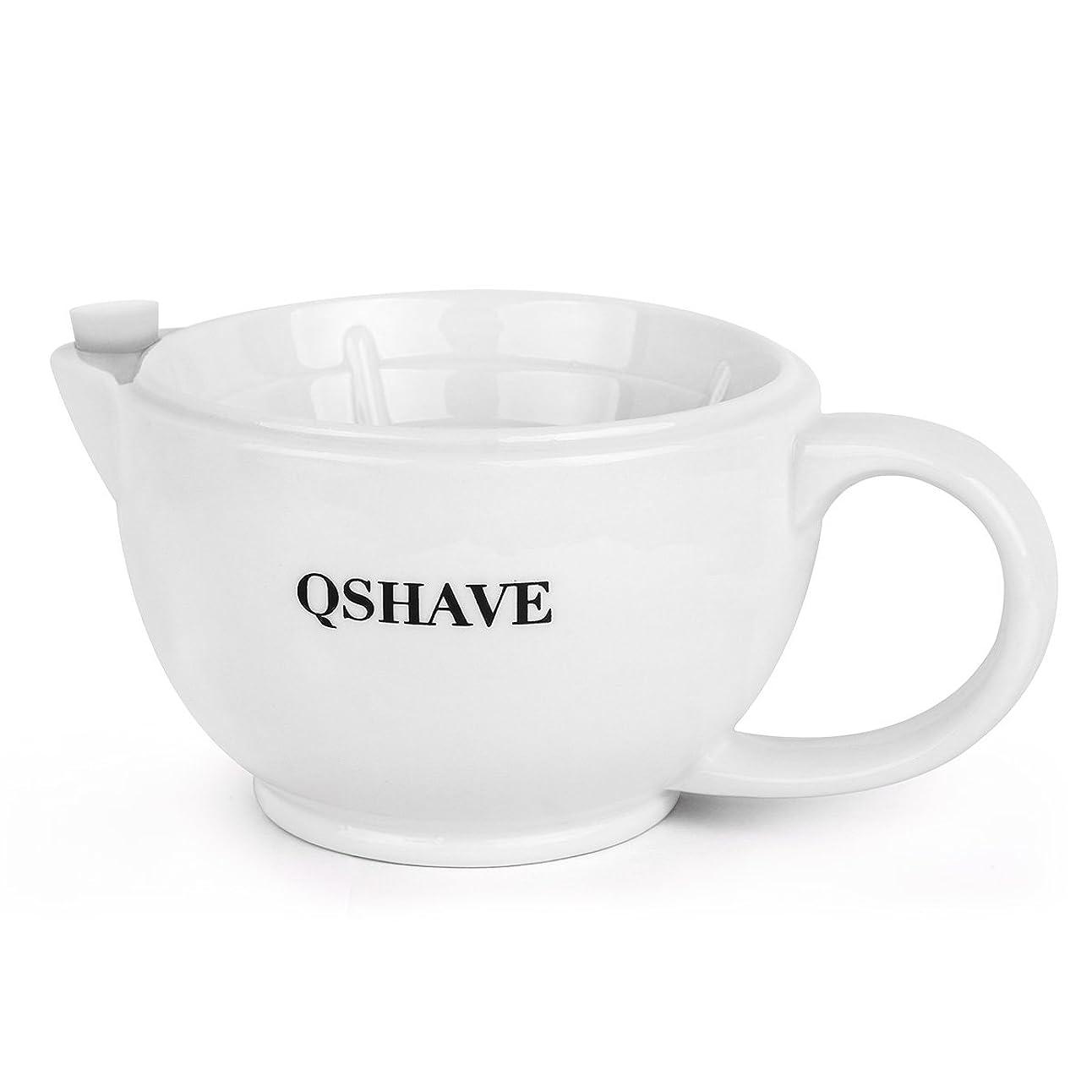 シェーバーれんがシャットQSHAVE シェービングシャトルのマグカップ - 常に泡を保つ - 手作りの陶器のカップ 白