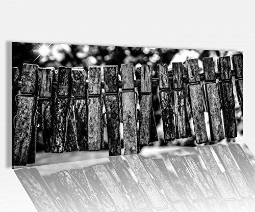 Acrylglasbild 120x50cm Wäscheklammer roter Faden Leben schwarz weiß Glasbild Acrylglas Acrylglasbilder 14A1141, Acrylglas Größe1:120cmx50cm