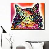 N / A Resumen Animal Print Wall Art Canvas Painting Colorful Cat Carteles e imágenes para la habitación de los niños Decoración del hogar sin Marco 70x90cm