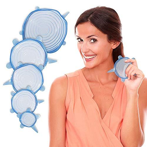 Siliconen Stretch Cap, 6-delig siliconen voedseldeksel, BPA-vrij voedsel opslag deksel voor potten, kommen, borden, vaatwassers, magnetrons en koelkasten in verschillende maten (blauw)