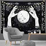Alynsehom Tapestry Moon Wall Hanging Moon Boho Wall Art Decor Hand Tapestry Black Hippie Decorations Psychedelic Mandala Wall Blanket Indian Tapestry Art Home Decor for Living Room Dorm(Hand Moon, M)