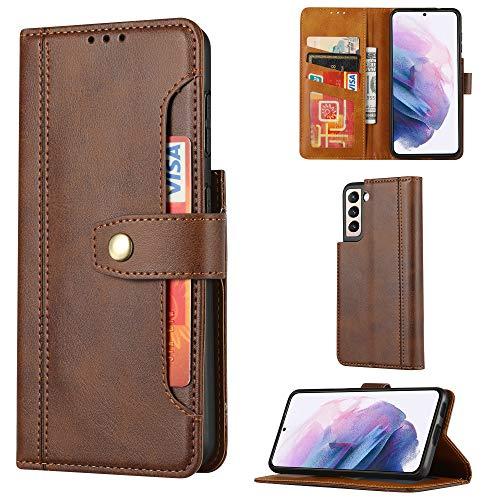 TOPOFU Hülle für Samsung Galaxy S21 Plus 5G,Premium LederHülle Wallet Schutzhülle mit [Kartensteckplätze] [Magnetverschluss] [Ständer],PU/TPU Retro-Stil Design Flip Handyhülle Cover,Braun