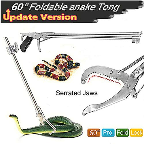 Futureup 60'' Foldable Snake Tongs Reptile Grabber, Rattlesnake Catcher Stick, Wide Serrated Jaw Handling Tool with Auto Lock and Non-slip Grip Handle (Free Snake Bag)
