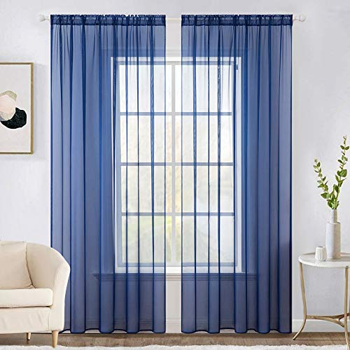 MIULEE 2 Panels Solid Color Sheer Window Curtains Elegant Window Voile Panels/Drapes/Treatment for Bedroom Living Room (54X72 Inches Navy Blue)