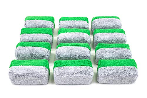 [Saver Applicator Terry] Microfiber Terry Applicator Sponge with Plastic Barrier - 12 Pack (Green/Gray, Mini)
