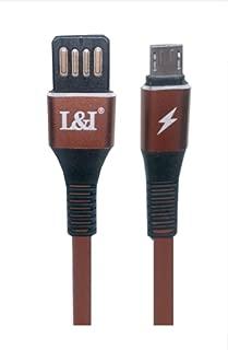 Android用 USB充電ケーブル 両面挿し L&I 断線防止 2.4A急速充電 高速データ通信 高耐久性 Huawei Xperia Samsung Galaxy Arrowsスマホ対応 1m ブラウン