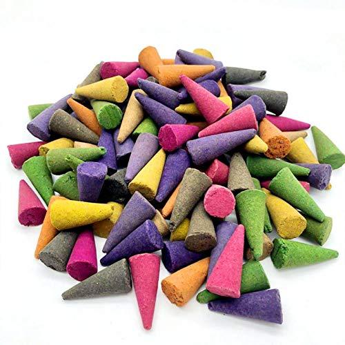 Conos de incienso de reflujo de reflujo de 100 piezas de aromas mixtos de coco, conos de incienso naturales de aire fresco para el hogar, la oficina, la purificación de meditación