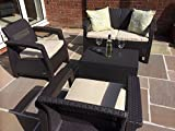 <span class='highlight'>Keter</span> Corfu Brown <span class='highlight'>Rattan</span> Garden Furniture Set <span class='highlight'>Sofa</span> Two Arm Chairs And Cushion Storage Box That Doubles As A Table