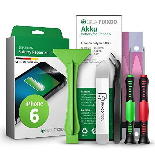 GIGA Fixxoo Reparatur-Set für iPhone 6 Akku | Kapazität wie Original-Akku | Ersatz-Akku mit Werkzeug-Kit für einfachen Austausch mit Anleitung bei defekter Batterie | Langlebiger Akku für iPhone 6