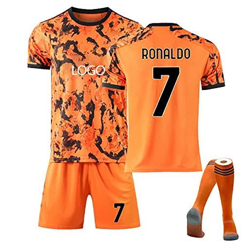 GWCUU Jungen und Mädchen Erwachsene Fußballuniform, 2021 Dybala # 10 Ronaldo # 7 Jersey T-Shirt, Fußballtrikot + Shorts + Socken Orange 7-26