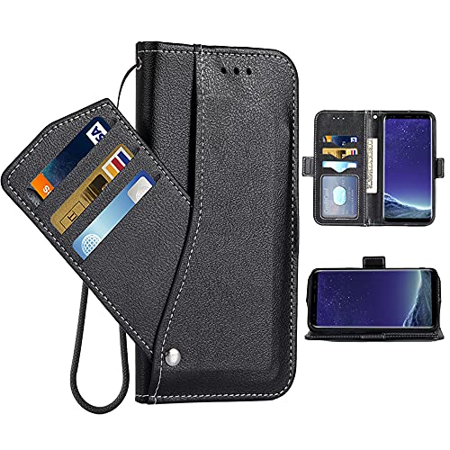 Asuwish Compatible with LG K20/K20 Plus/K20 V/Harmony/V5/K10 2017/Grace LTE Wallet Case Wrist Strap Lanyard Flip Cover Card Holder Phone Cases for LGK20Case LGK20Plus LGK20V K20V K 20 20K K20+ Black