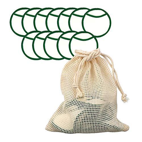 Abschminkpads Waschbar, Waschbare Abschminkpads, 12 Packs Wattepads Wiederverwendbar aus Bambuskohle und Bambusfasern Makeup Entferner Pads Gesichtsreinigung (color1)