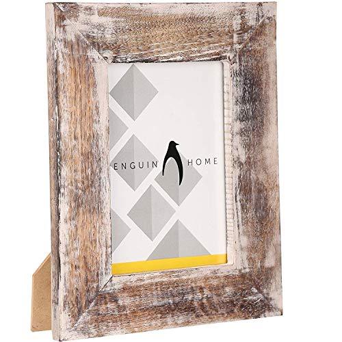 Penguin-Fotorahmen für Zuhause, Holz, weiß gewaschen, 24 x 17 cm (7