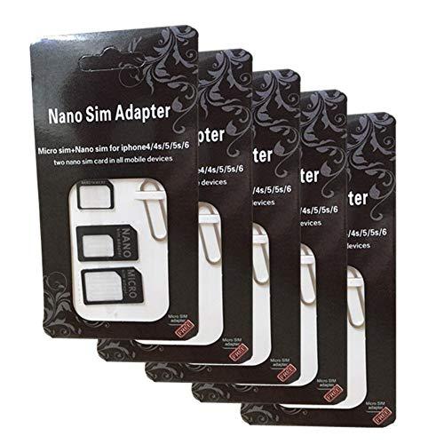 5 pezzi Adattatore Sim Card 4 in 1 Nano sim Micro sim Standard sim Sim cutter Adattatore scheda sim Adattatore sim universale per Smartphone e Tablet disponibile in 2 colorazioni.